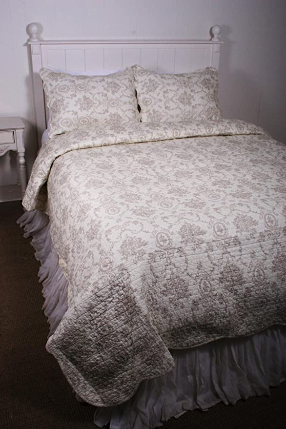 Tan Cream Ivory Cameo Toile Floral KING 3pc Quilt Set NEW French Medallion