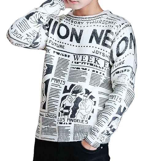 Comfy Men Pullover Jumperer Floral Knitting Letter Pattern Sweater