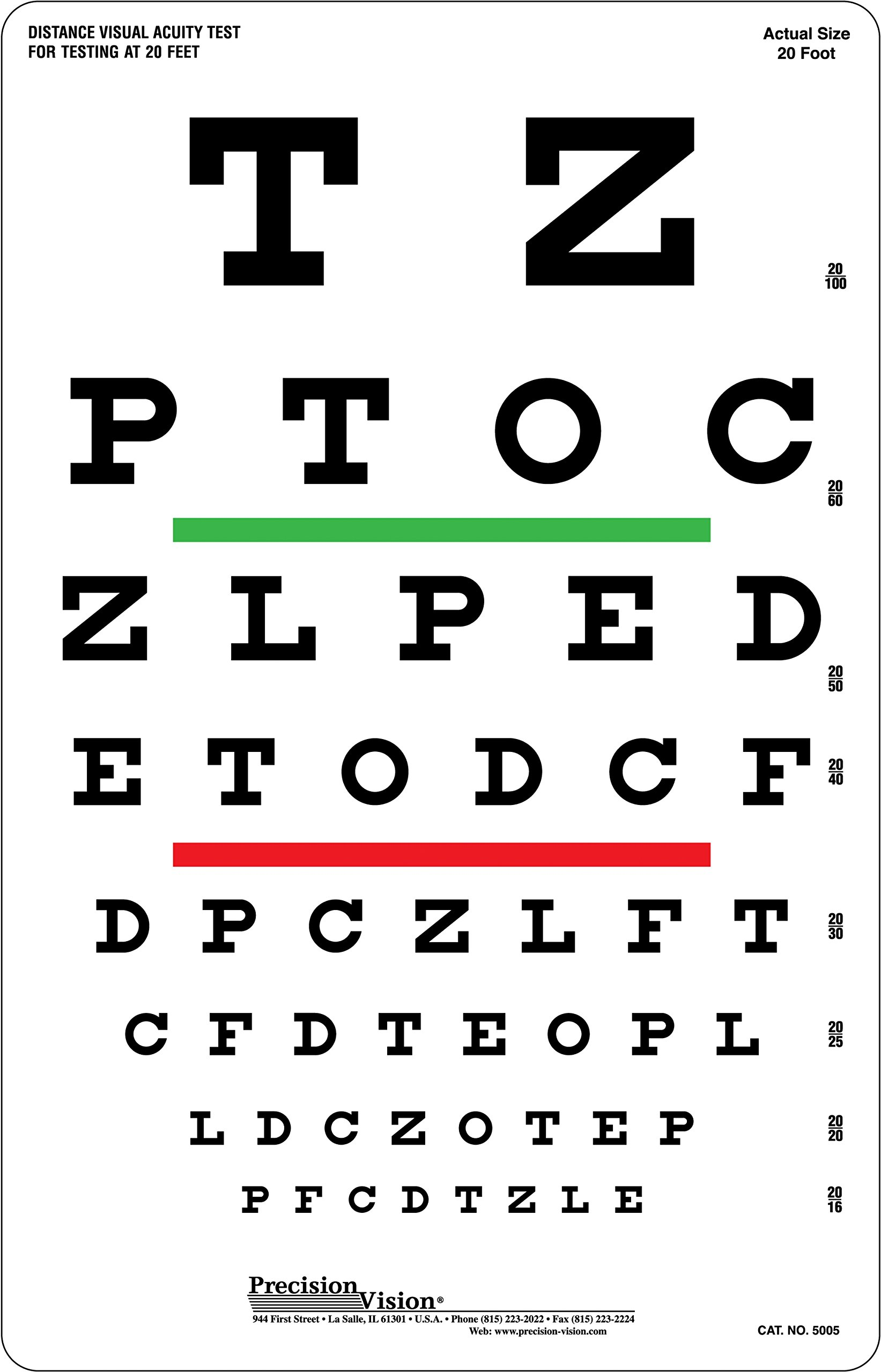 Snellen Eye Chart, Red and Green Bar Visual Acuity Test by Precision Vision (Image #1)