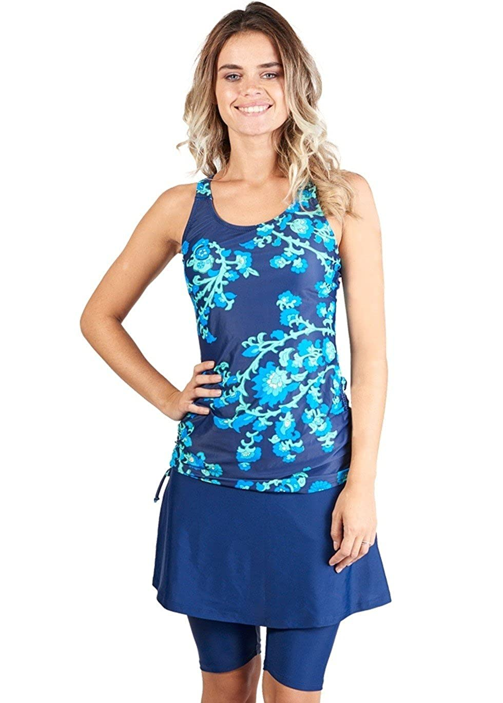 ac0df9882bfcd 82% Nylon 18% Spandex STYLISH AND MODEST - bright, patterned modest swimwear  you will be excited to wear! ADJUSTABLE FIT - the shirt features  drawstrings on ...