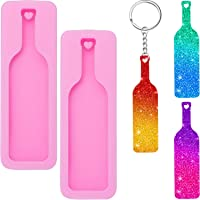 2 Pieces Wine Bottle Silicone Mold Tumbler Wine Bottle Shaped Pendant Keychain Mold and 10 Pieces Key Rings with Chain for Making Keychain, DIY Chocolate, Cake, Pudding, Ice Cream
