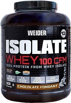Weider Isolate Whey 100CFM 908gr Chocolate. 100% aislado de proteina de suero. Cero azúcar, cero aspartamo, con stevia, con dygezime, con BCAA, apto ...