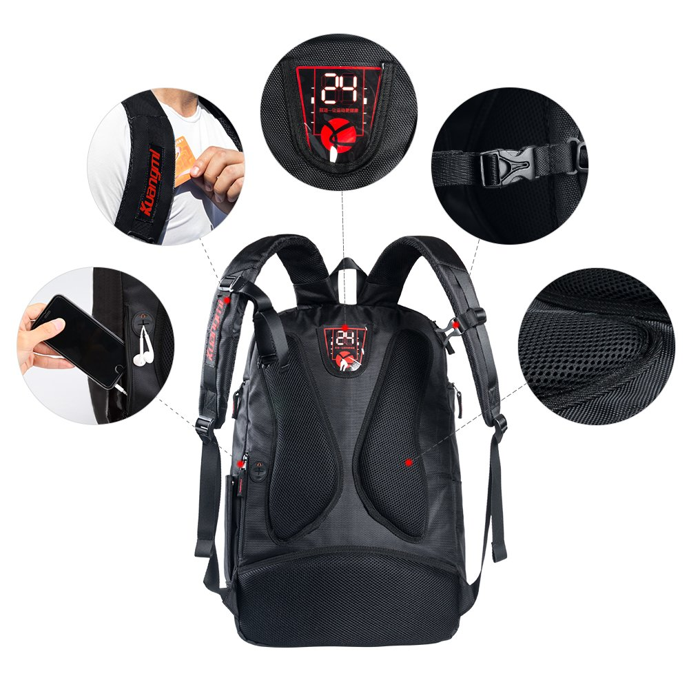 Uso Escolar o Viajes Ropa mojada Ideal para su Uso en Deportes al Aire Libre Kuangmi Mochila con Bolsa para bal/ón de f/útbol o Baloncesto
