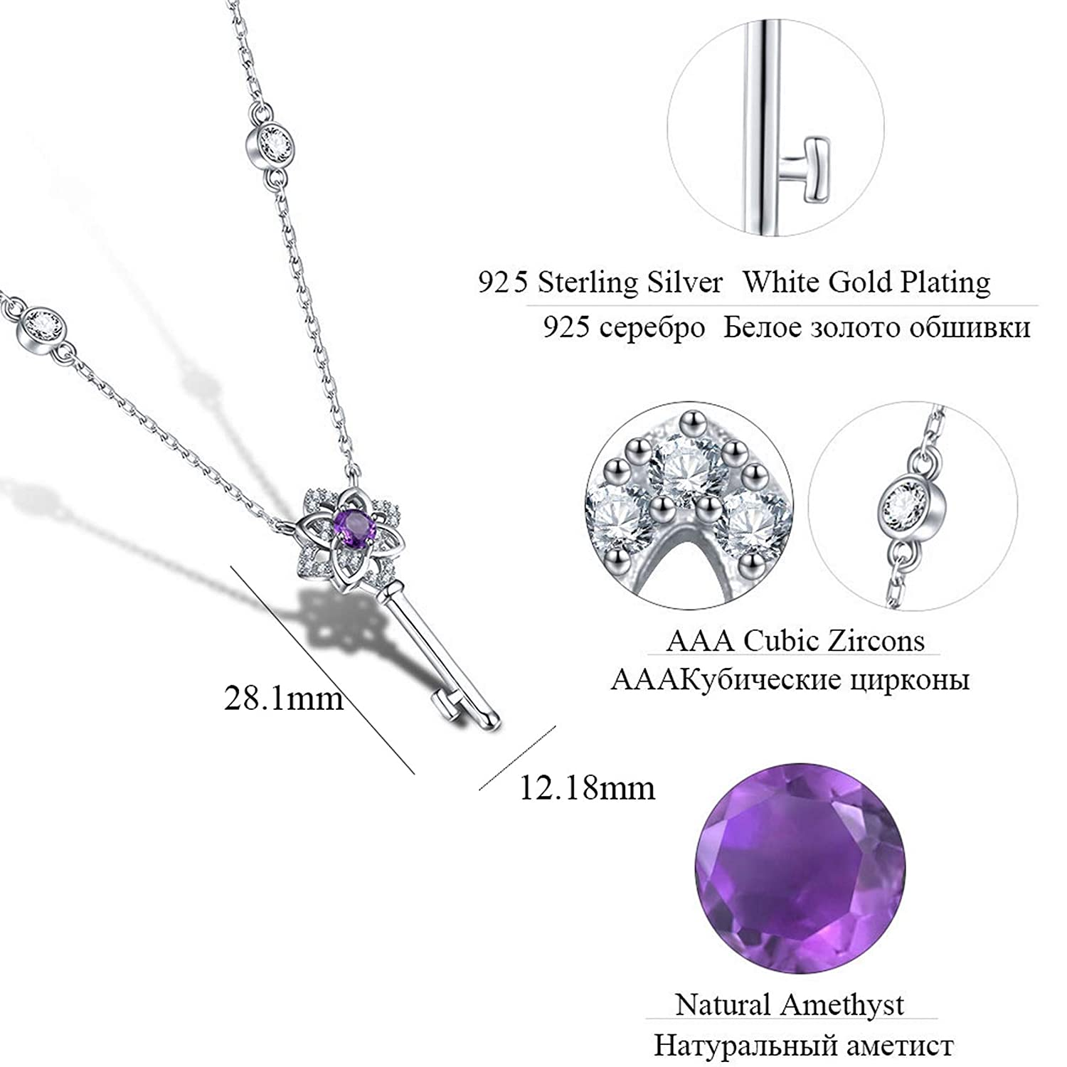 MMC Womens 0.22ct Genuine Natural Amethyst Jewelry Silver Pendants Necklaces
