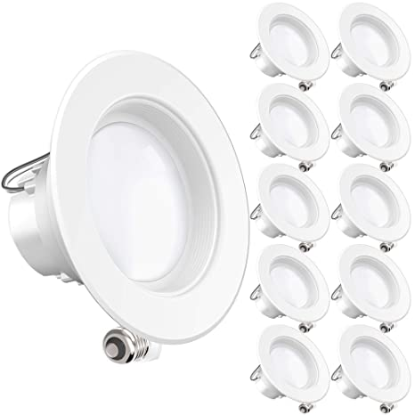 newest 339c0 e2dd5 Sunco Lighting 10 Pack 4 Inch LED Recessed Downlight, Baffle Trim,  Dimmable, 11W=40W, 3000K Warm White, 660 LM, Damp Rated, Simple Retrofit ...