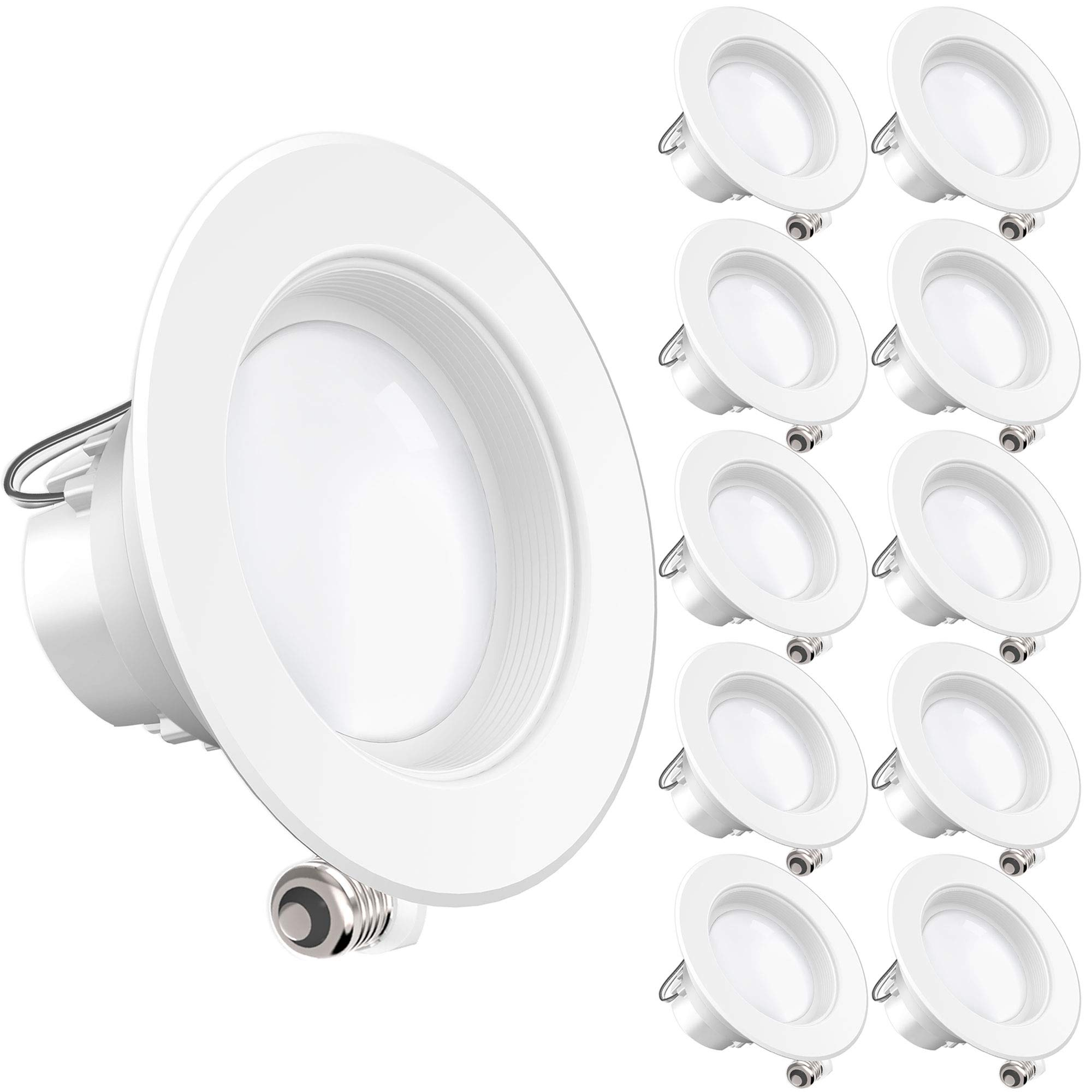 Sunco Lighting 10 Pack 4 Inch Baffle Recessed Retrofit Kit Dimmable LED Light, 11W (40W Replacement), 5000K Kelvin Daylight, Quick/Easy Can Install, 660 Lumen, Wet Rated by Sunco Lighting (Image #1)