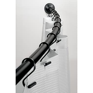 iDesign Curved Metal Shower, Adjustable Customizable Curtain Rod for Bathtub, Stall, Closet, Doorway, 41-72 Inches, Matte Black