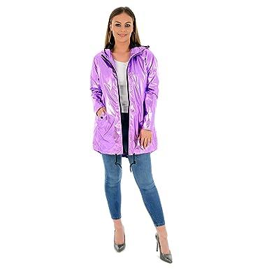 4cbec684f00e1 Image not available for. Colour  Ladies Metallic Rain Mac Brave Soul Womens  Raincoat Waterproof Festival Parka Parker Hooded Jacket Water Resistant