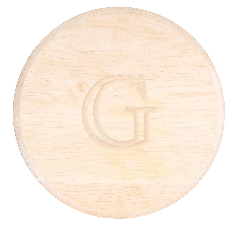 16-Inch by 1-Inch MonogrammedU Walnut MonogrammedU Chubbco Cutting Boards BigWood Boards W110-LAZYSUSAN-U Thick Round Lazy Susan Cutting Board