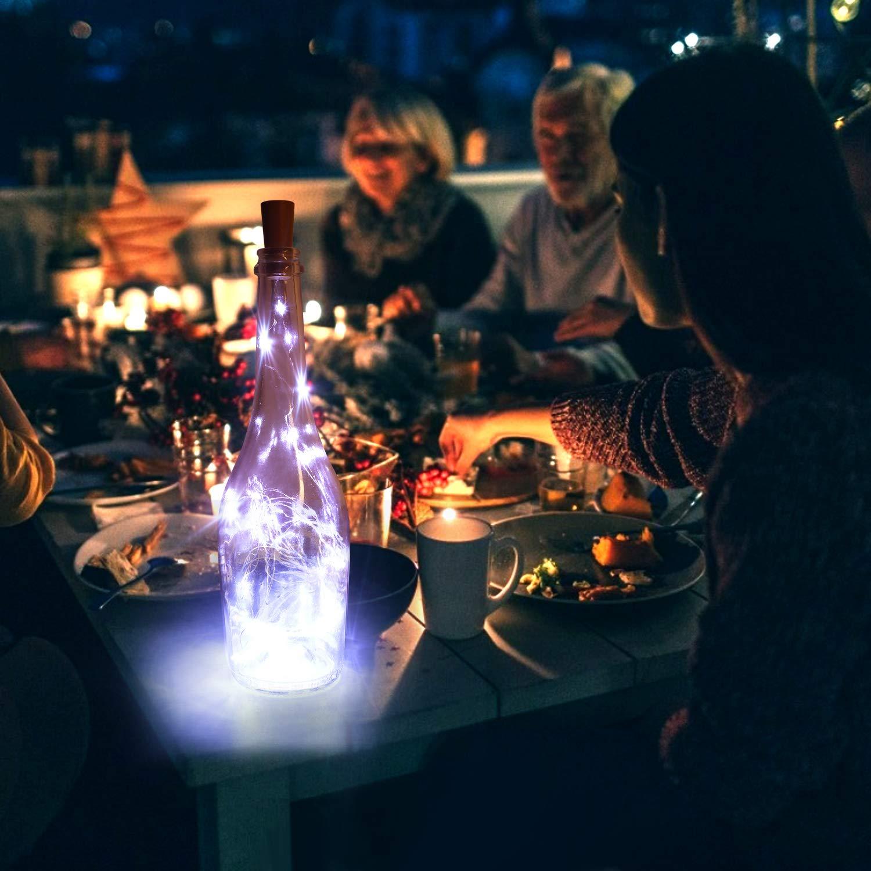 12 Pcs Luz de Botella, 2m 20LEDs Luces de Botellas Pilas Decorativas Flexible de Alambre de Cobre, para Romántico Boda, Navidad, Fiesta (Luces Frías)