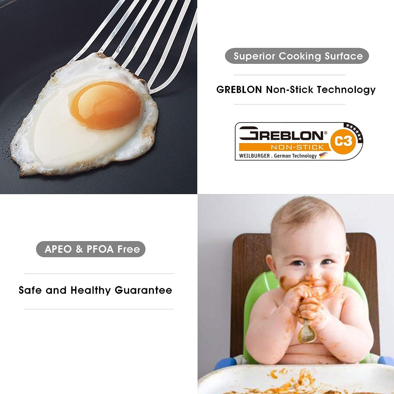 po/êle /à omelettes /à Induction avec Un poign/ée Cool Eono Essentials Po/êle en Acier Inoxydable /à rev/êtement Anti-adh/ésif en Greblon de 28/cm JP-2850 va au Lave-Vaisselle et au Four sans APFO