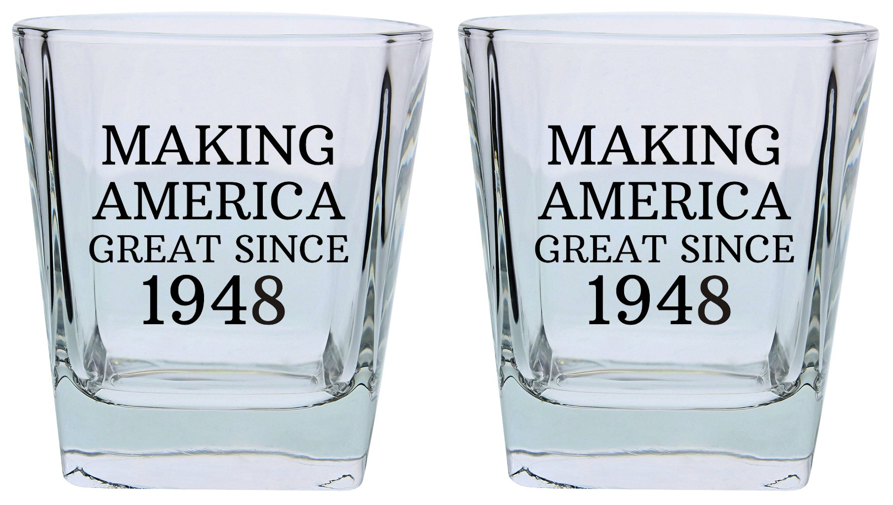 70th Birthday Gifts for Grandpa Grandma Making America Great Since 1948 Republican Conservative 70th Birthday Party Supplies Square Lowball Glasses 2-Pack Square Lowball Tumbler Set Black