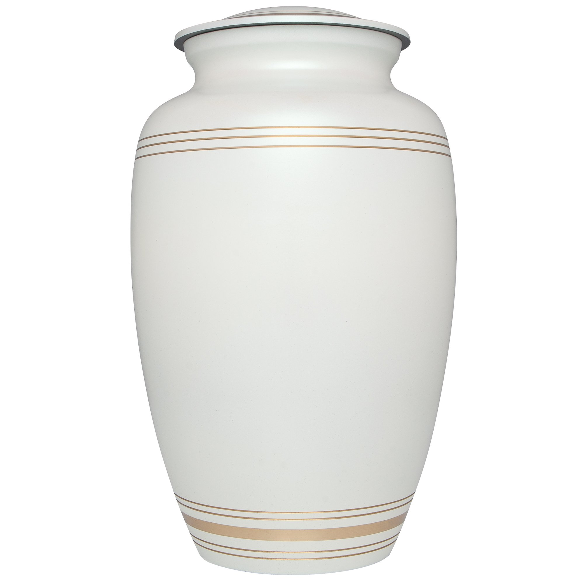 White Funeral Urn by Liliane Memorials - Cremation Urn for Human Ashes - Hand Made in Brass - Suitable for Cemetery Burial or Niche - Fits Remains of Adults up to 200 lbs - Classic Model