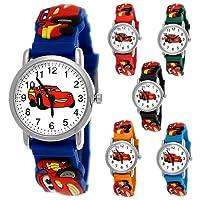 Pure Time Autos Cars Kinder Uhr Jungenuhr Mädchenuhr Auto Kinder Armbanduhr Silikon Armband Junge Mädchen Kinderuhr Hellblau Orange Blau Rot Schwarz Grün Sportuhr Lernuhr 3D