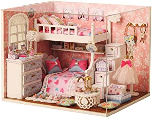 Flever Dollhouse Miniature DIY House Kit Creative Room With Furniture and Glass Cover for Romantic Artwork Gift(Dream Angel)