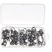 45PCS Jig Fishing Hook 2.5g 3.5g 5g 7g 10g Assortment Hook Ball Jig Head Fishing Set with Tackle Box for Predatory…