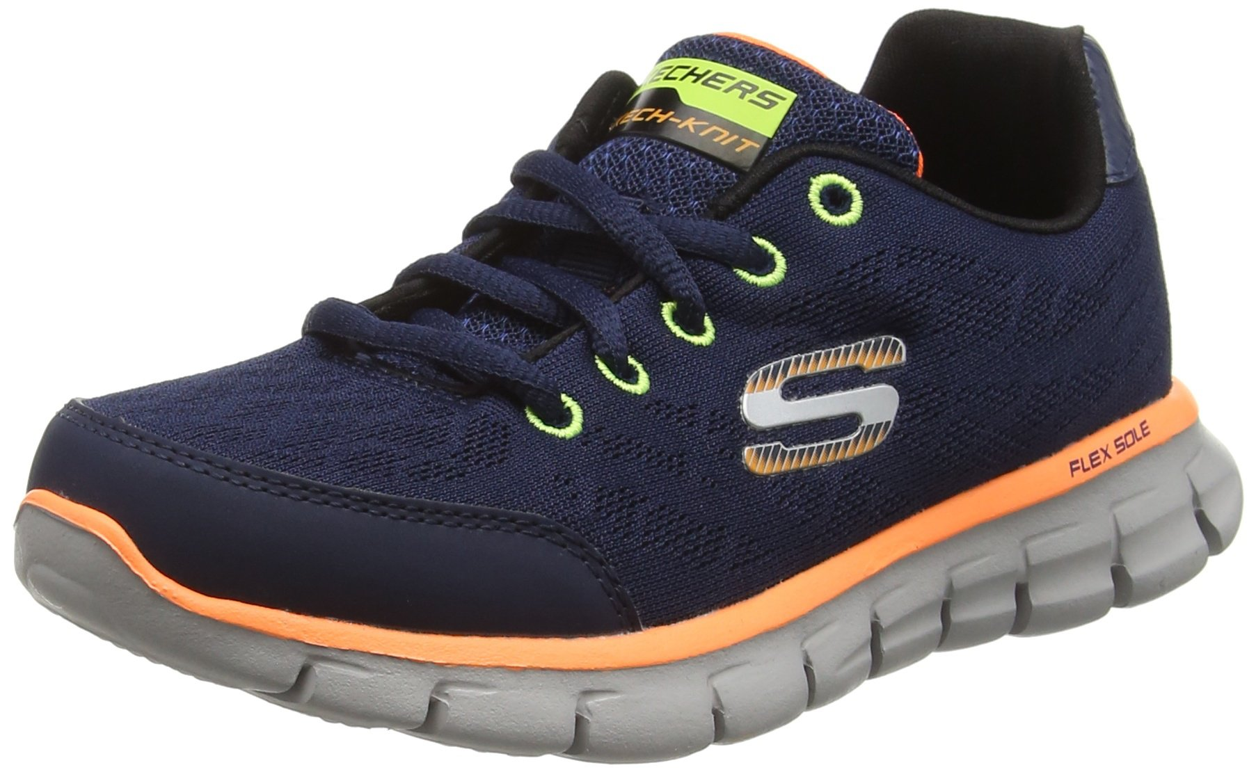 Skechers Boys' Synergy Fine Tune Sneaker,Navy/Orange,US 12.5 M