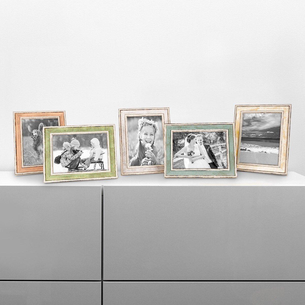 PHOTOLINI 5er Bilderrahmen-Set Pastell Alt-Weiß Hellblau Rosa Hellgrün Gold Silber 10x15 cm Massivholz mit Vintage Look Fotorahmen Wechselrahmen