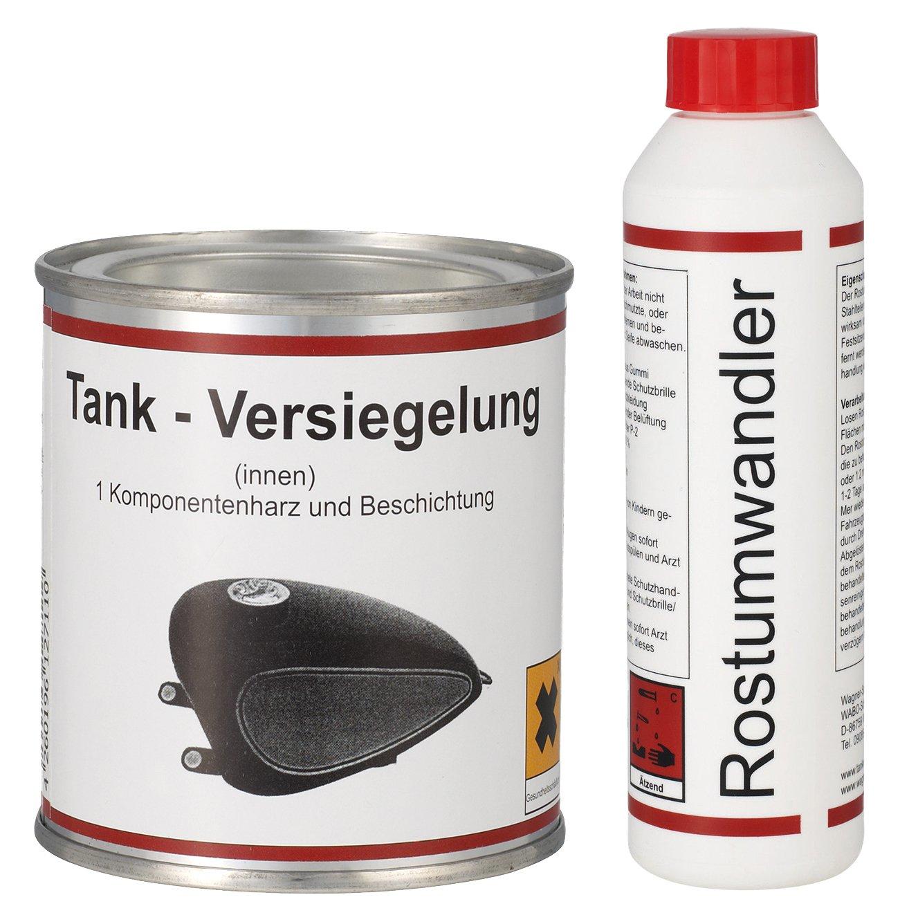 WAGNER Spezialschmierstoffe GmbH & Co. KG GmbH & Co. KG Einkomponentenharz Tankversiegelung 250 ml & Rostumwandler Rostentferner Rostlö ser 250 ml