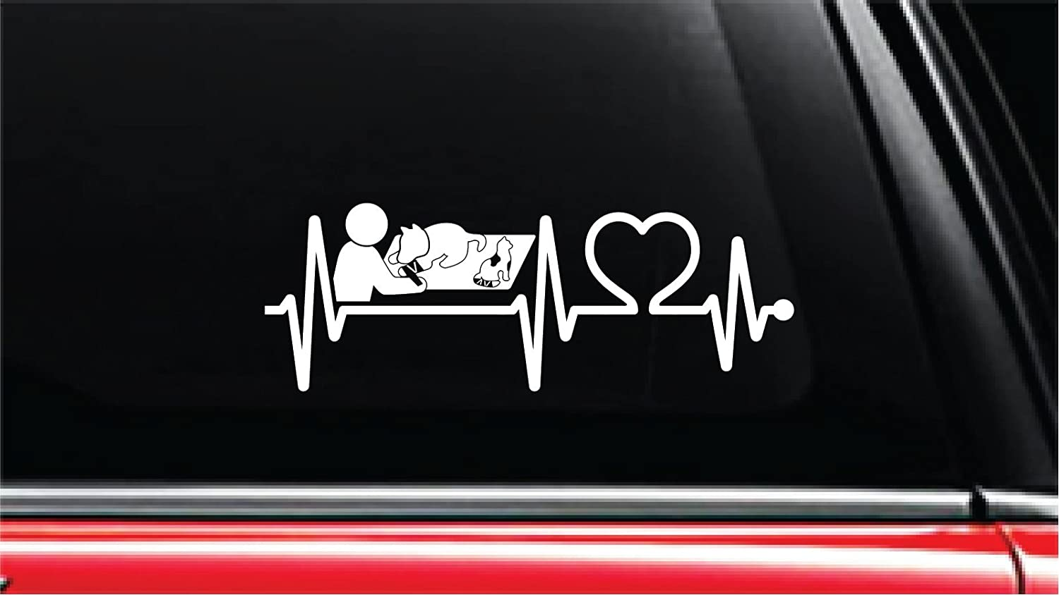 Computer Or Window Notebook Laptop 8, White Veterinary Physician Heartbeat Lifeline Vinyl Die-Cut Decal Sticker for Car Truck