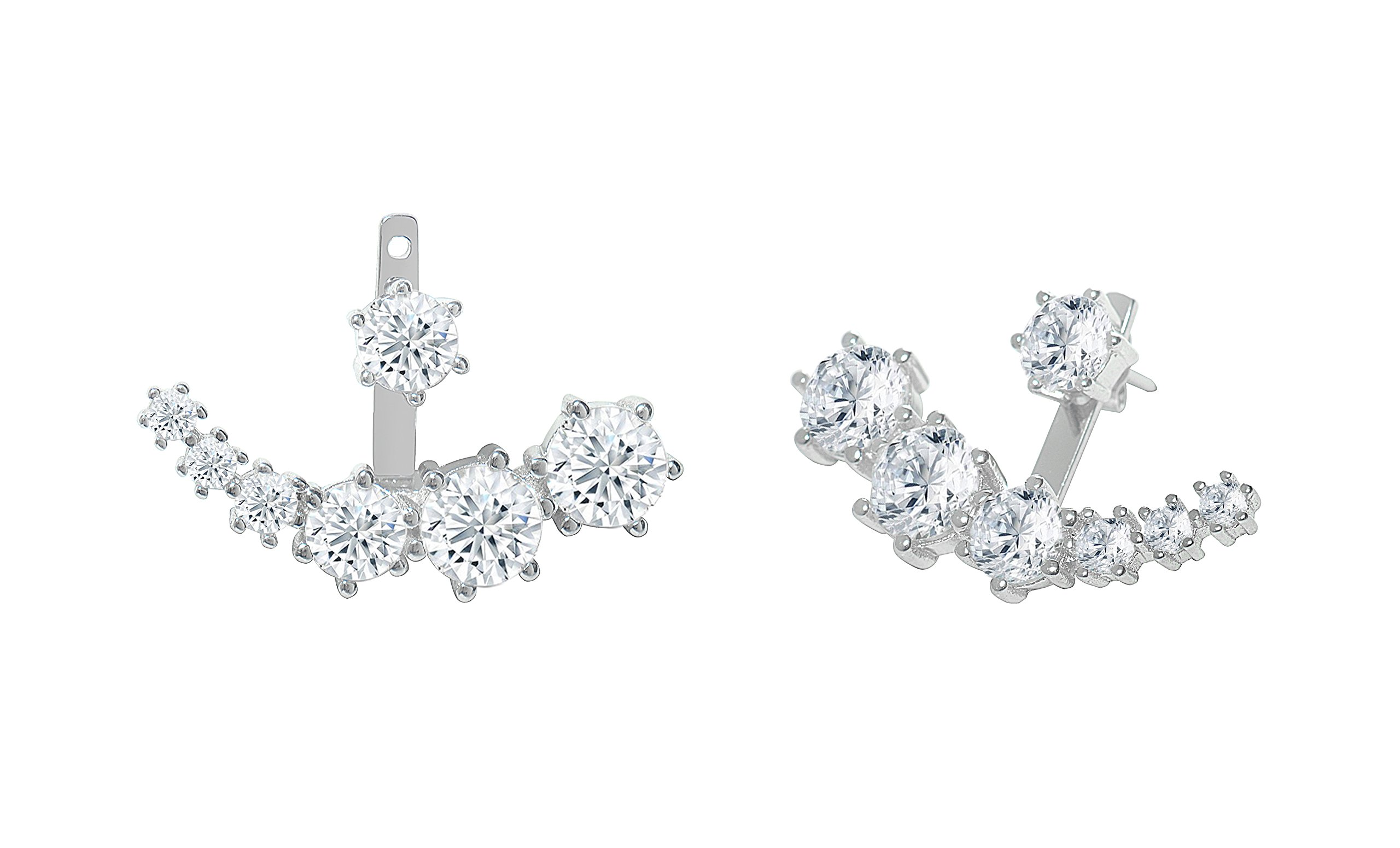 Womens Prong Set Graduated Earring Jacket In Sterling Silver