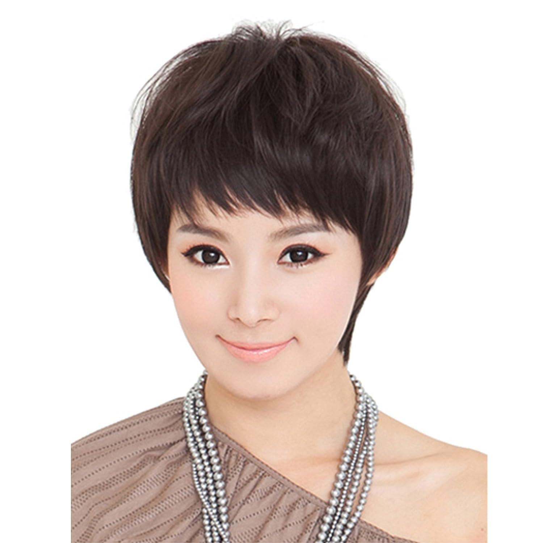 Dreambeautyレディースフルウィッグ ショートストレートヘア 自然前髪 医療用女性かつら100%人毛 つむじ手植え+機械植えネット肌色 人工皮膚 通気性 抗菌ネット黑色 栗色 B072L6GTNR 栗色 栗色