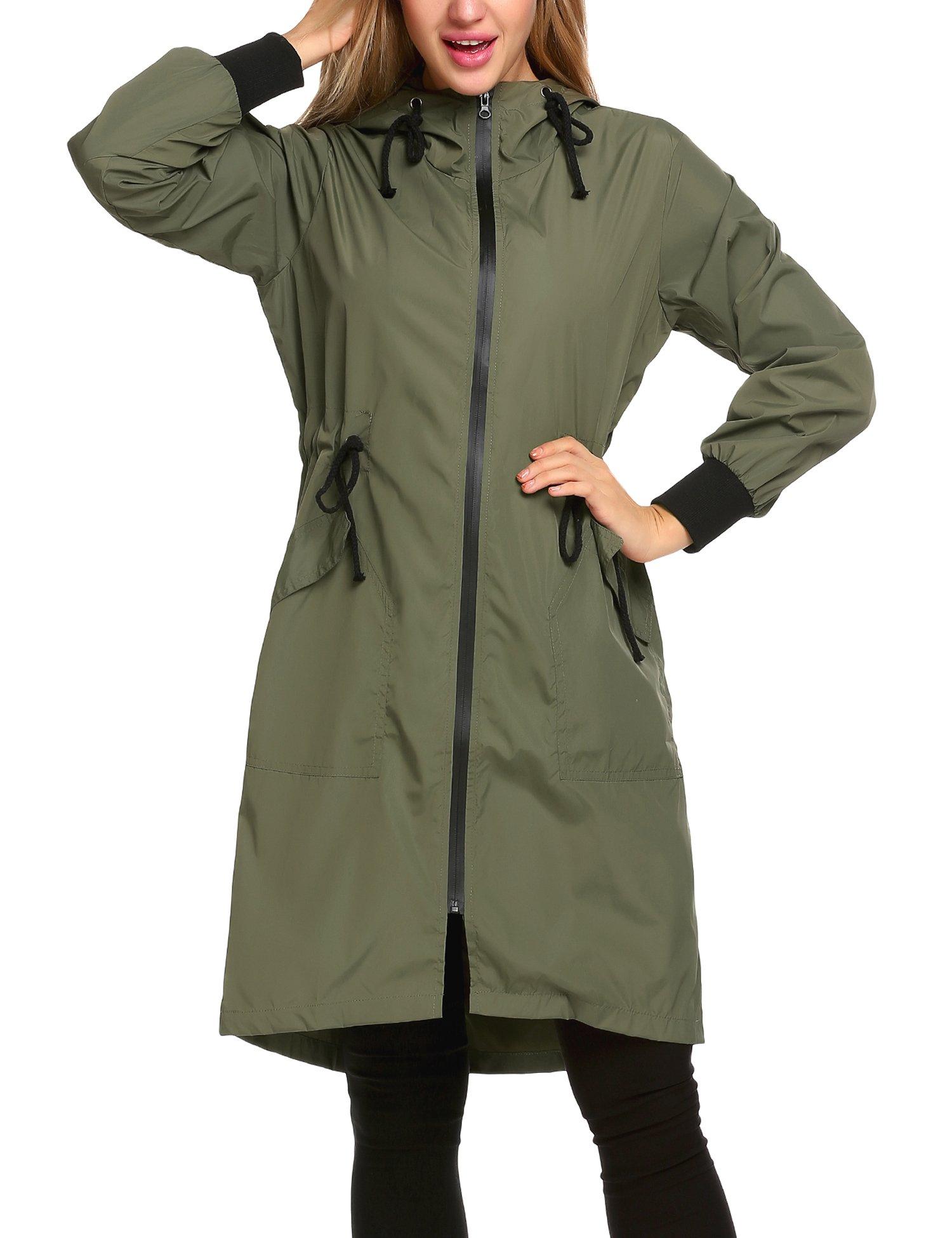 Zeagoo Women's Lightweight Hooded Waterproof Active Outdoor Rain Jacket, Army Green, Small