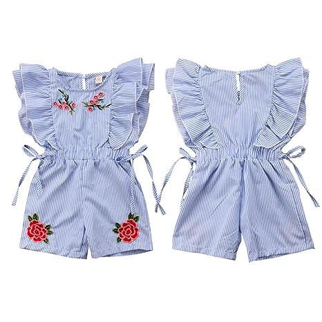 90077b8f3 Amazon.com  Toddler Baby Girl Flower Romper Kid Summer Stripe Ruffle ...
