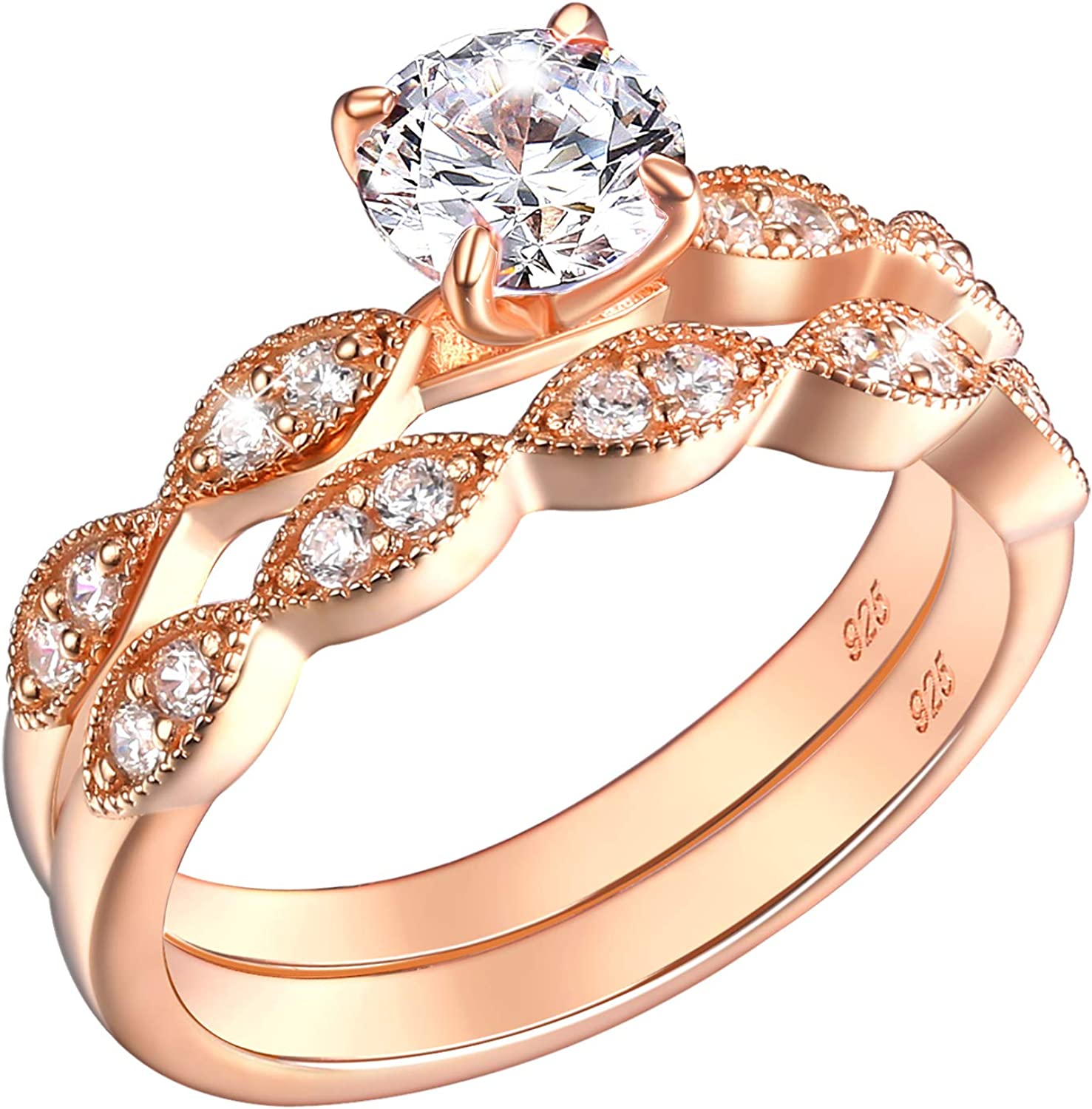 SHELOVES Rose Gold Floral Wedding Rings Engagement Set for Women Round Cz 925 Sterling Silver 5-10