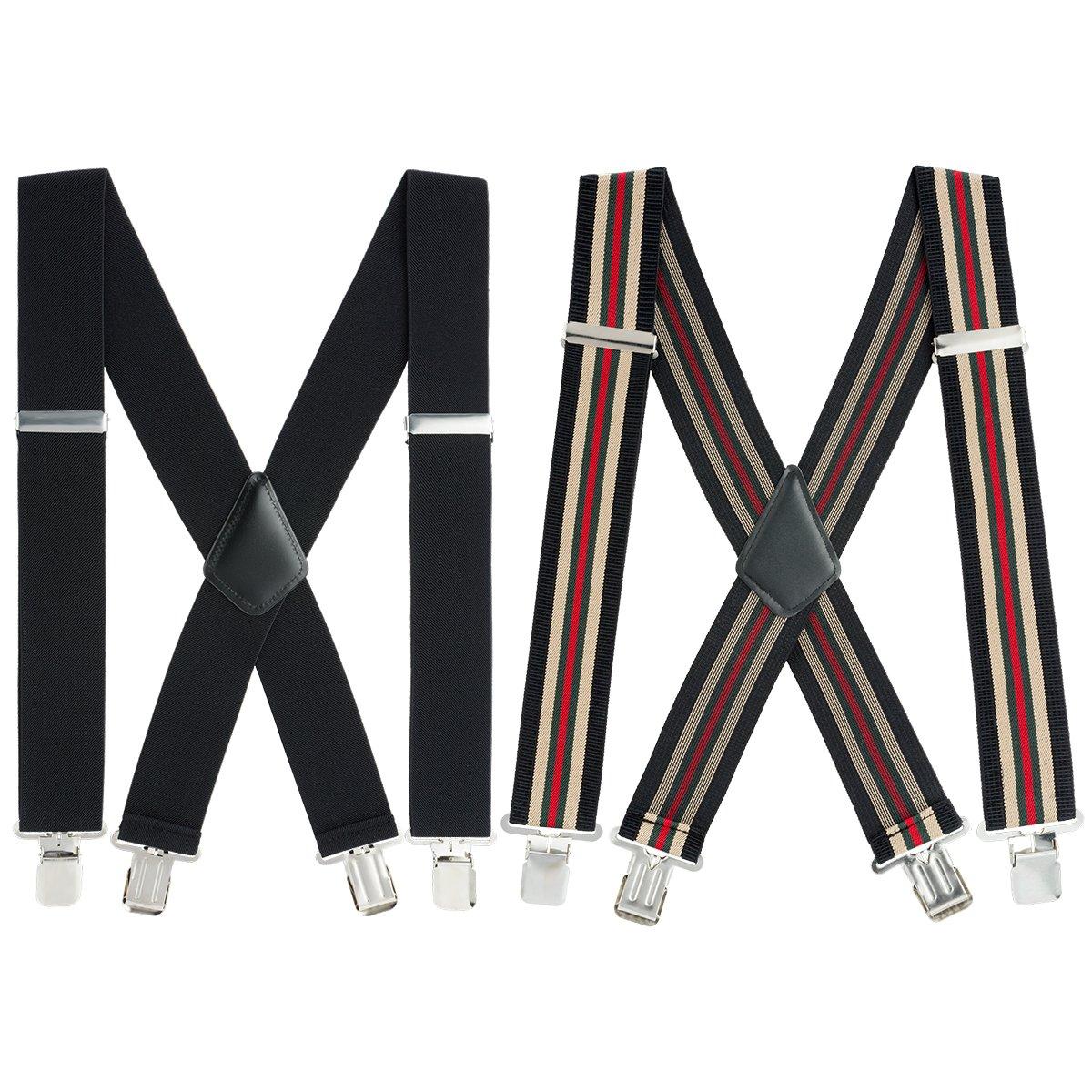 Mens X-Back Heavy Duty Work Suspenders 2'' Wide Adjustable Elastic Clip Suspenders 2pc(Black/Striped) by GradeCode (Image #1)