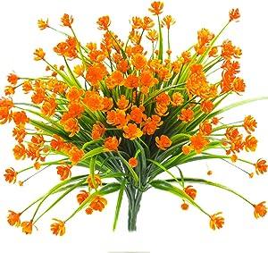 Artificial Fake Flowers, 4 Bundles Outdoor UV Resistant Greenery Shrubs Plants Indoor Outside Hanging Planter Home Garden Décor(Orange)