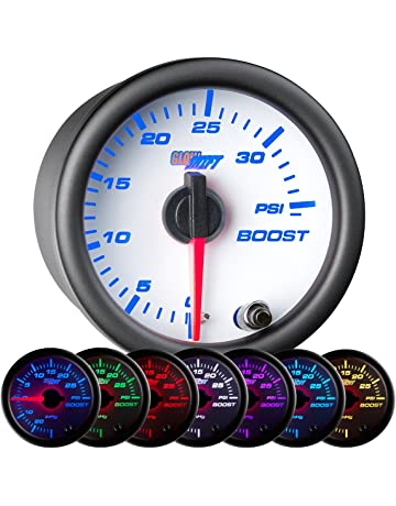GlowShift White 7 Color 35 PSI Turbo Boost Gauge Kit - Includes Mechanical Hose & Fittings