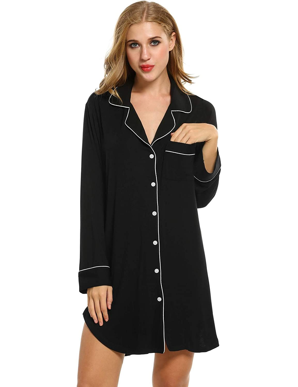 eshion Womens Long Sleeve Button Down Nightgown Above Knee ...