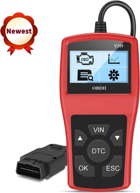 OBD 2 Diagnosticos Coche Portátil OBD II Auto Scanner Interfaz Estandar 16 Pines con Lectura y Borrado de Códigos de Error y Prueba de Batería para Automóviles Protocolos OBDII y Modos OBD2/EOBD/Can