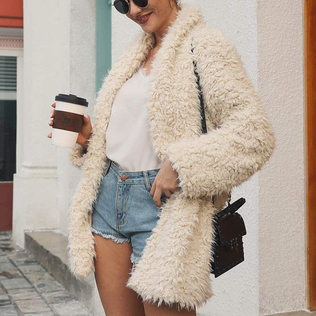 Ellymi Open Front Coat Lapel Comfy Soft Teddy Parka Outwear Winter Jacket with Pocket Womens Solid Faux Fur Outerwear