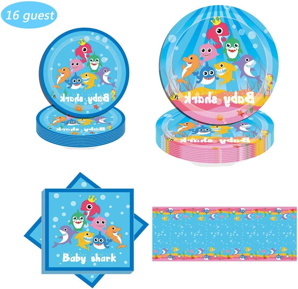Shark Party Supplies for Baby - 9+7 inch Plates,tablecloth,Napkins Birthday Party Favor Pack Set for Kids Boy
