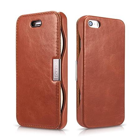 Luxus Tasche für Apple iPhone SE , iPhone 5S und iPhone 5 / Case Außenseite aus Echt-Leder / Innenseite aus Textil / Schutz-H