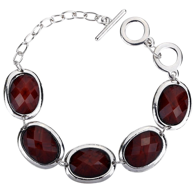 DVANIS Elegant Red Wine Oval Design Crystal Silver Plated Link Bracelet