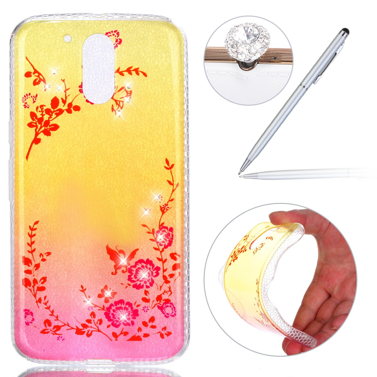 Felfy Motorola Moto G 4th Case, Motorola Moto G4 Clear Case, Novelty [Full-Body 360 Coverage Protective] Transparent Clear Ultra Slim Case with Glitter Cover Soft TPU Silicone Flexible Anti-Scratch Abrasion Resistance Front Back Full Coverage Rubber Cover