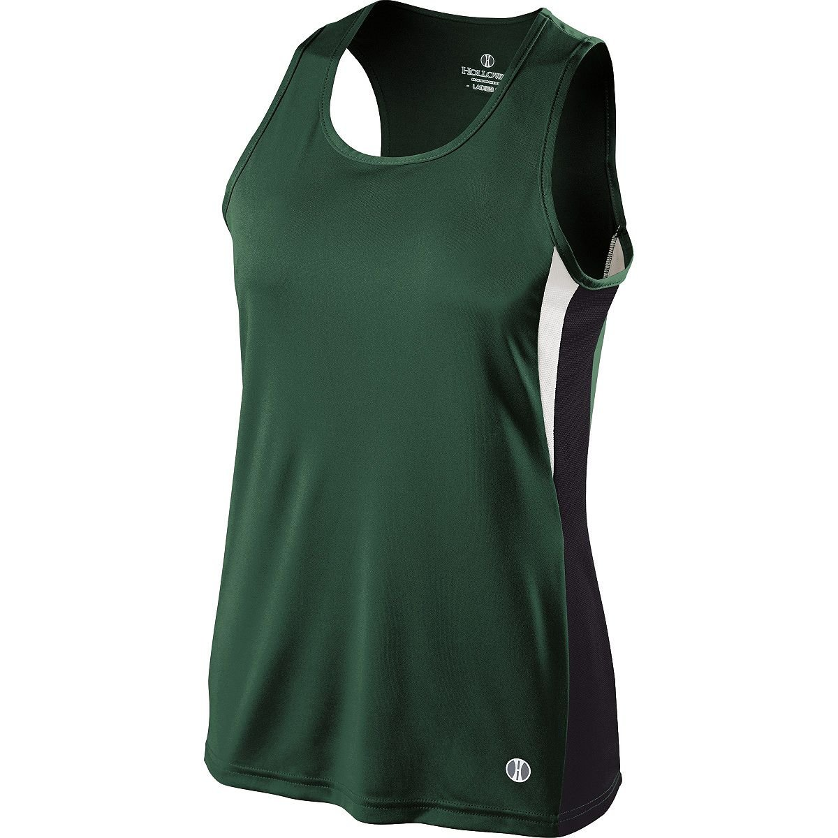 Holloway Ladies Dry Excel Vertical Singlet (Small, Forest/Black/White) by Holloway