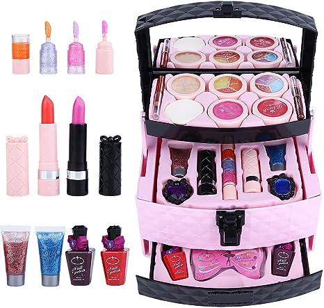Caja de maquillaje - Set de cosméticos para niñas - Princesa, Juguetes para niñas - Accesorios cosméticos - Set de cosméticos para niños: Amazon.es: Belleza