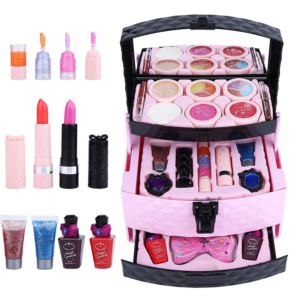 Salmue Children's Cosmetics Set, Water-soluble Makeup Little Princess Cosmetic Case Play House Toys, Including Blush, Eye Shadow, Eyebrow Pencil, Nail Polish, Lip Gloss and Other 22 Beauty Toys