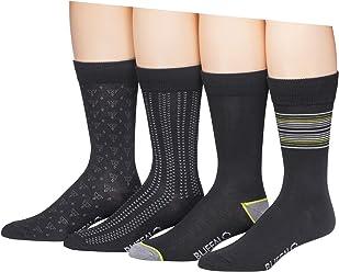 Buffalo David Bitton Mens 4 Pack Thin Stripes Crew Socks