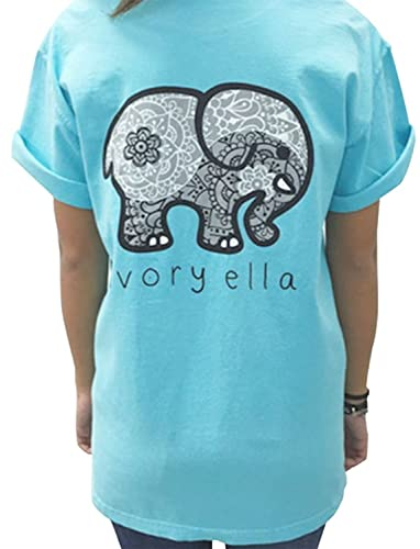 ca59f0720 Amazon.com  Elephant Graphic Print T-Shirt Women Casual O Neck Casual Tees  Blouse Tops  Clothing