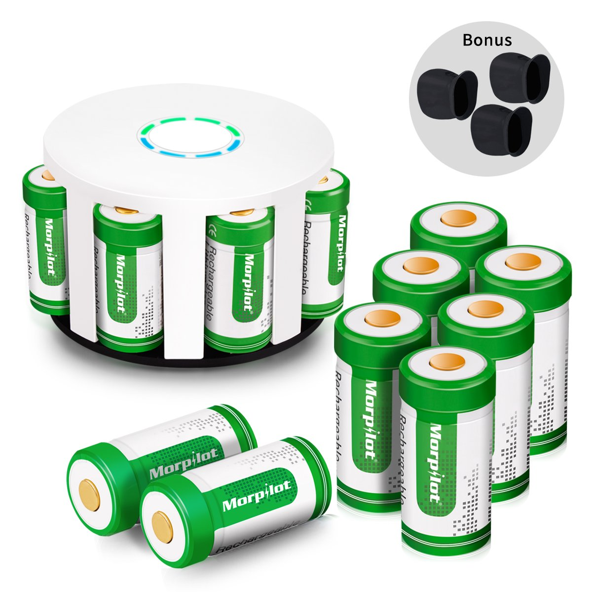 Morpilot 12Pcs RCR123A Rechargeable Batteries and 8-Ports Charger, 3.7V 700mAh Li-ion Battery Camera Skin for Arlo VMS3030/3230/3330/3430/3530 Security Cameras by Morpilot