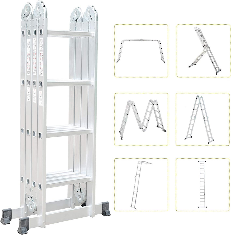 Todeco Escalera Multiusos, Estándar EN131, Carga Máxima 150 kgs., Plegable en Múltiples Posiciones, Escalera de 16 peldaños Antideslizantes, Estabilidad Asegurada: Amazon.es: Bricolaje y herramientas