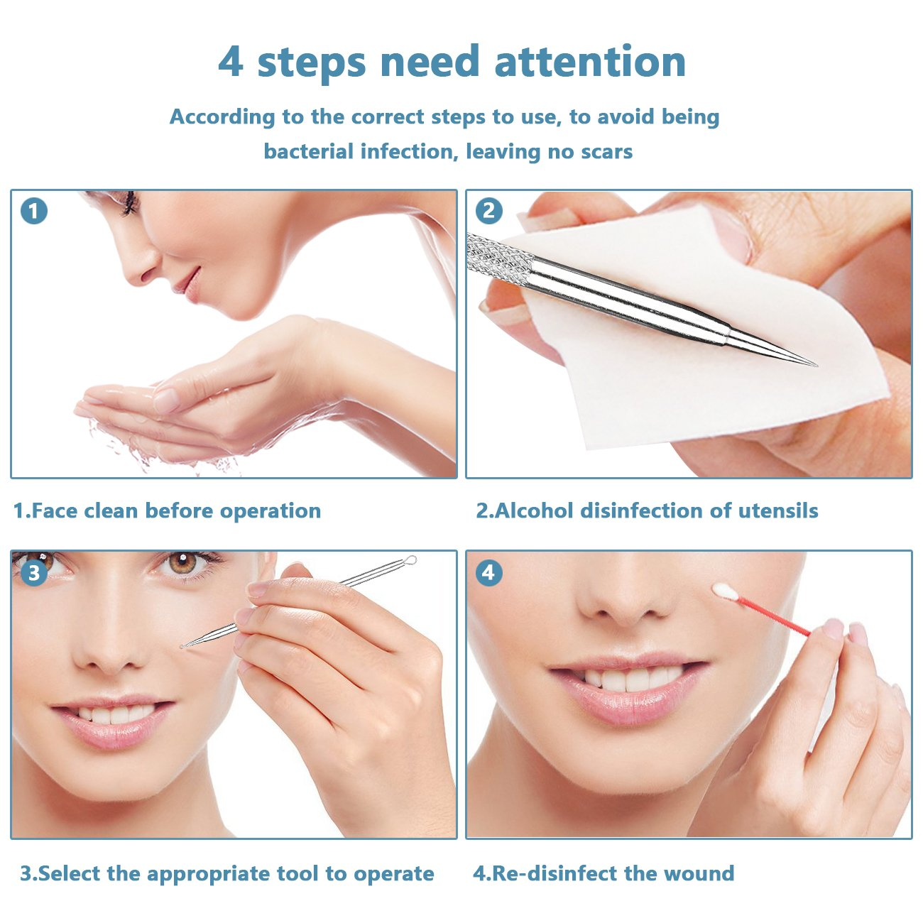 Professional Blackhead & Splinter Remover Tools Easily Cure Pimples Whiteheads Comedones Acne Zit Ingrown Hairs and Facial Impurities Surgical Stainless Steel with Alcohol Prep Pad