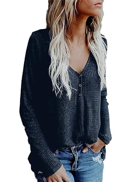 Las Señoras Abotonaban V Cuello Blusa De Manga Larga Vintage Sudadera Elegante Las Camisetas Suéter De Moda Envejecido T-Shirt Otoño: Amazon.es: Ropa y ...