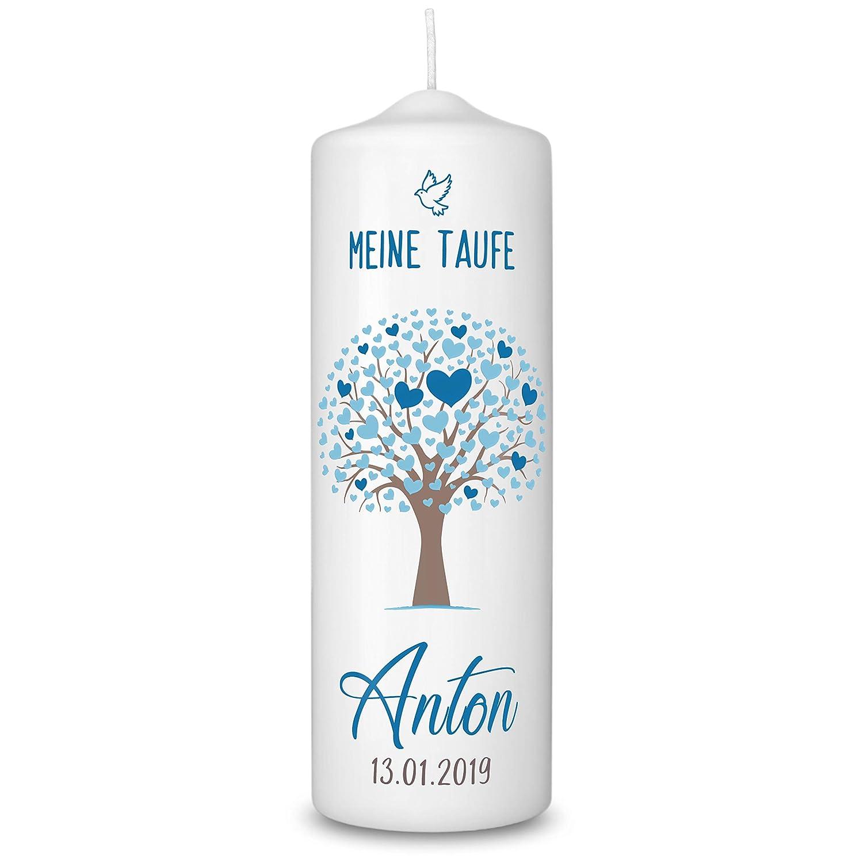 Taufgeschenke f/ür M/ädchen und Jungen mit Taufspruch inkl Lebensbaum Blau 360/° Druck mit Namen und Datum Geschenk zur Taufe Taufkerze in Wei/ß personalisiert Aufbewahrungsbox