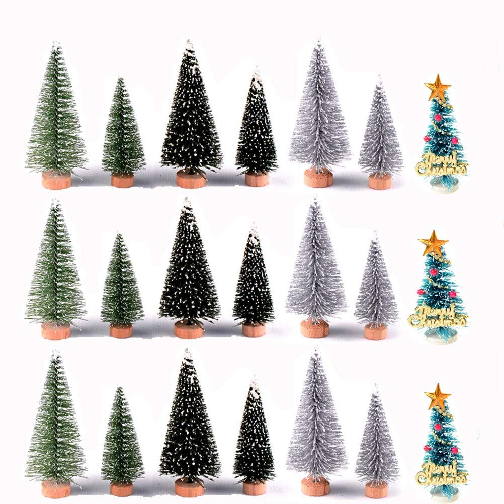 21Pcs Miniature Pine Trees, Sisal Trees with Wood Base Cute Fairy Garden Set for Miniature Scenes, Christmas Crafting